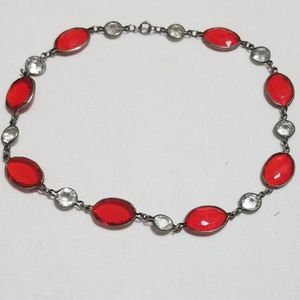 Vintage Costume Choker Necklace Red and Clear Gems